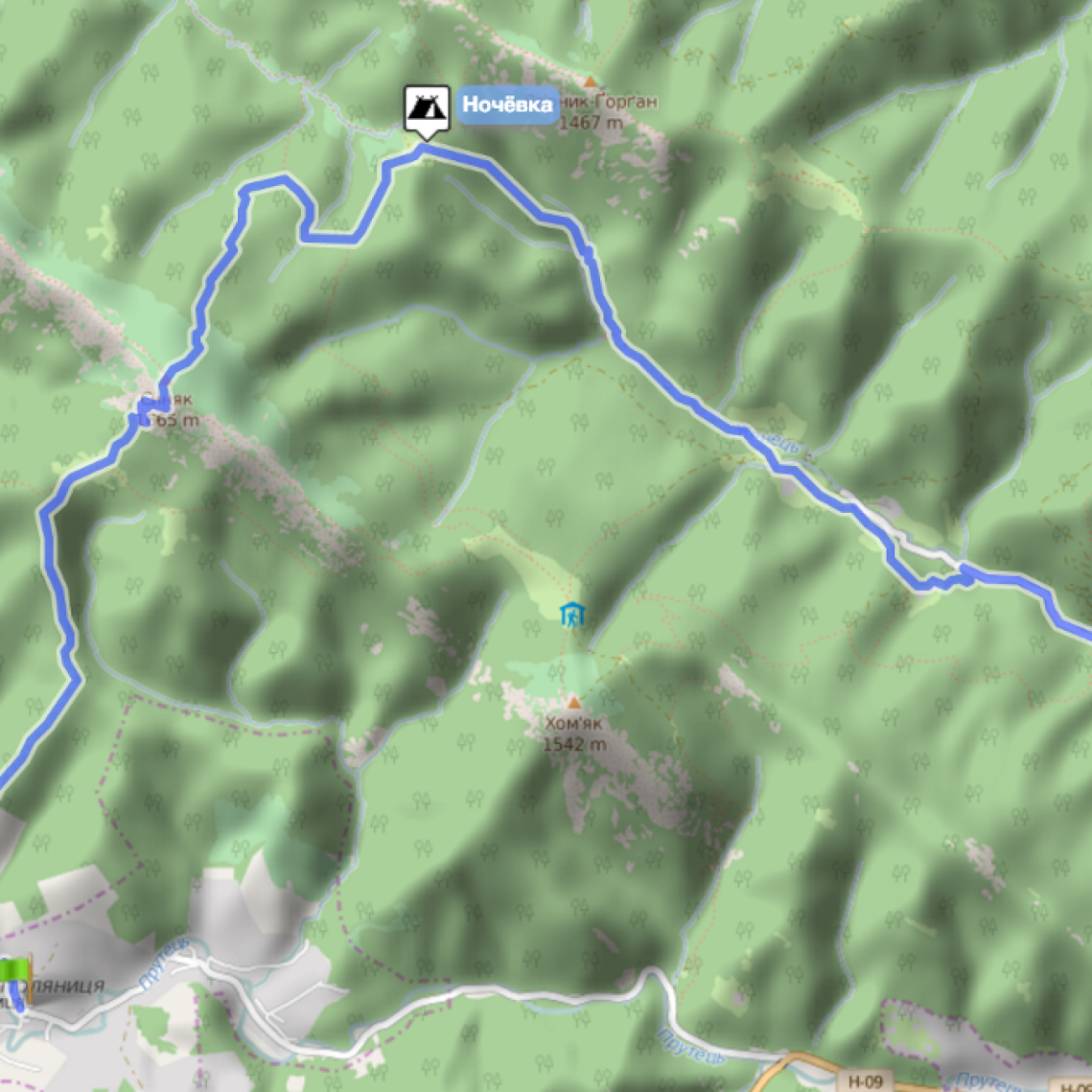 Карта маршрута. Ноябрь, Горганы, гора Синяк